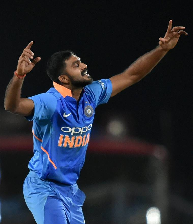 Vijay Shankar celebrates the dismissal of Australia's Marcus Stoinis during the 2nd ODI cricket match at Vidarbha Cricket Association Stadium, in Nagpur