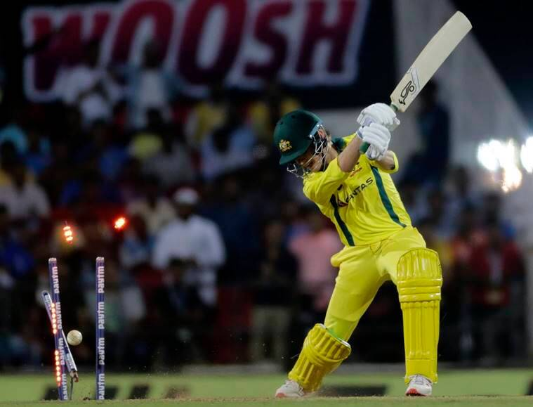 Australia's Adam Zampa is bowled by Vijay Shankar during the second one-day international cricket match between India and Australia in Nagpur, India