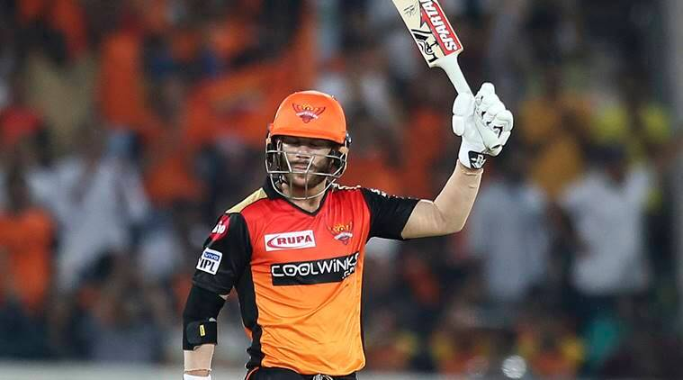 Sunrisers Hyderabad's David Warner lift the bat after scoring fifty runs during the VIVO IPL T20 cricket match between Sunrisers Hyderabad and Rajasthan Royals in Hyderabad