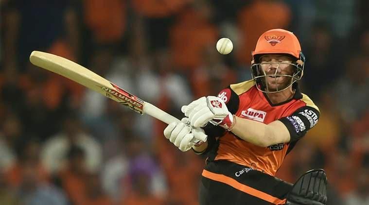 SRH batsman David Warner plays a shot during the Indian Premier League 2019 (IPL T20) cricket match between Sunrisers Hyderabad (SRH) and Rajasthan Royals (RR) at Rajiv Gandhi International Cricket Stadium