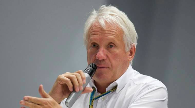 Charlie Whiting, International Automobile Federation, or FIA, Race Director, gestures answering a question during a news conference at the 'Sochi Autodrom' Formula One circuit , in Sochi, Russia.