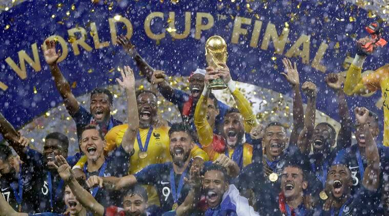 In this Sunday, July 15, 2018 file photo, France goalkeeper Hugo Lloris holds the trophy aloft after the final match between France and Croatia at the 2018 soccer World Cup in the Luzhniki Stadium in Moscow, Russia. France won the final 4-2.