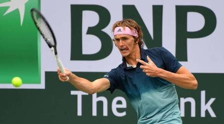 Alexander Zverev (GER) during his third round against Jan-Lennard Struff (not pictured) in the BNP Paribas Open at the Indian Wells Tennis Garden.