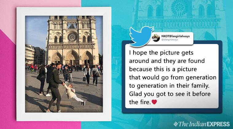notre dame, notre dame fire, notre dame father child photo, notre damn photos, viral notre dame fire photos, internet search notre dame duo, viral news, viral photo, indian express
