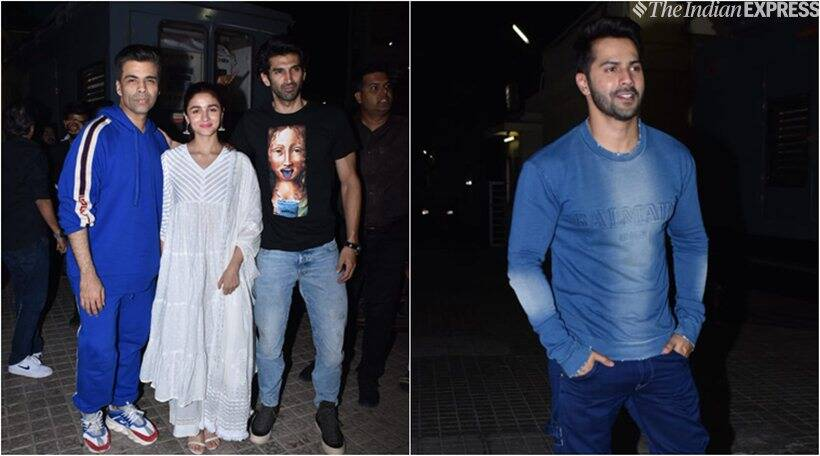alia bhatt, aditya roy kapur and karan johar at kalank screening