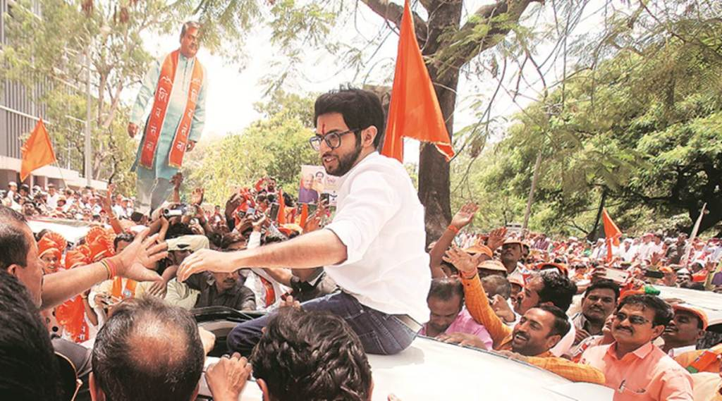 aaditya thackeray, yuva sena leader, saffron party, bjp shiv sena, maharashtra, loks sabha elections, election news, indian express
