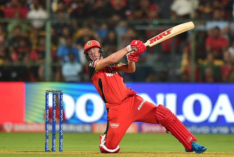 RCB batsman AB de Villiers plays a shot during the Indian Premier League 2019 (IPL T20) cricket match between Royal Challengers Bangalore (RCB) and Mumbai Indians (MI) at Chinnaswamy Stadium in Bengaluru