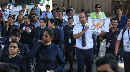 Jet Airways' ground staff demonstrate at Mumbai airport over unpaid salaries
