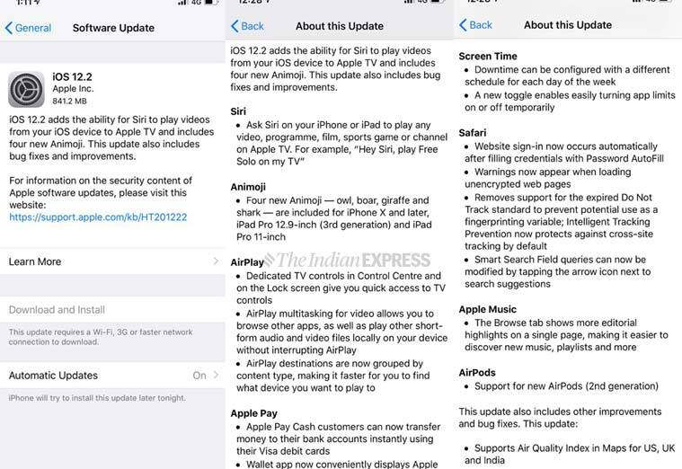 Details of the iOS 12.2 update