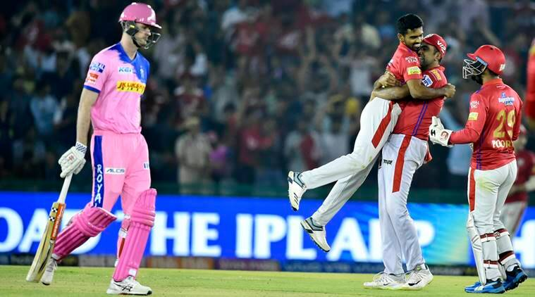 Kings XI Punjab player celebrates after the dismissal Ashton turner of Rajasthan Royals during the Indian Premier League (IPL T20 2019) cricket match between Kings XI Punjab V/S Rajasthan Royals at I. S Bindra Stadium Mohali