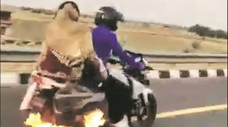 Bike catches fire on Agra expressway, cops on patrol save family
