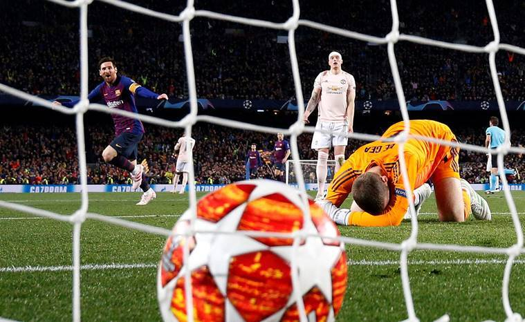Lionel Messi celebrates scoring their second goal as Manchester United's David de Gea reacts