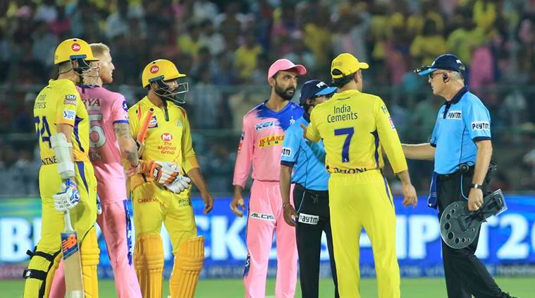 Players of Chennai Super Kings', in yellow, and Rajasthan Royals discuss with umpires over a No Ball during the VIVO IPL T20 cricket match between Rajasthan Royals and Chennai Super Kings in Jaipur