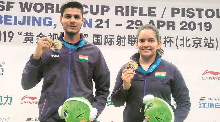 ISSF World Cup, ISSF World Cup beijing, Anjum Moudgil, Divyansh Panwar, Anjum Moudgil Divyansh Panwar gold, Tokyo Olympics, Indian express