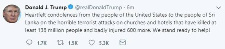 donald trump, trump sri lanka condolences, donald trump sri lanka, donald trump sri lanka condolences, sri lanka terror attacks, sri lanka attacks, sri lanka church blast, sri lanka easter blasts, sri lanka serial blasts, sri lanka news, sri lanka terror attack news