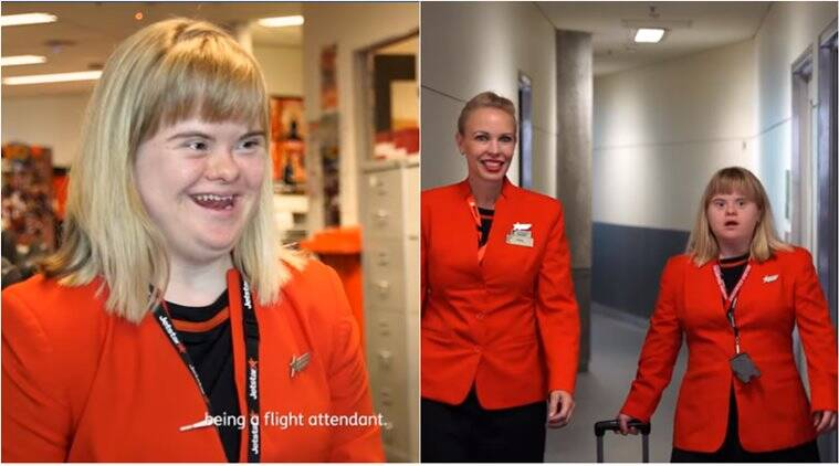 down syndrome, down syndrome girl flight attendant, jetstar airways, down syndrome girl cabin crew, good news, viral news, indian express