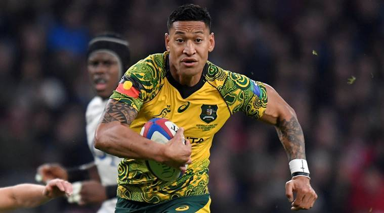 Australia's Israel Folau runs in to score their first try