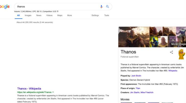 Avenger's Endgame easter egg on Google, make half of the