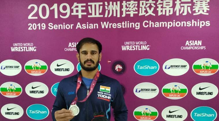 Harpreet Singh at the 2019 Asian Wrestling Championships