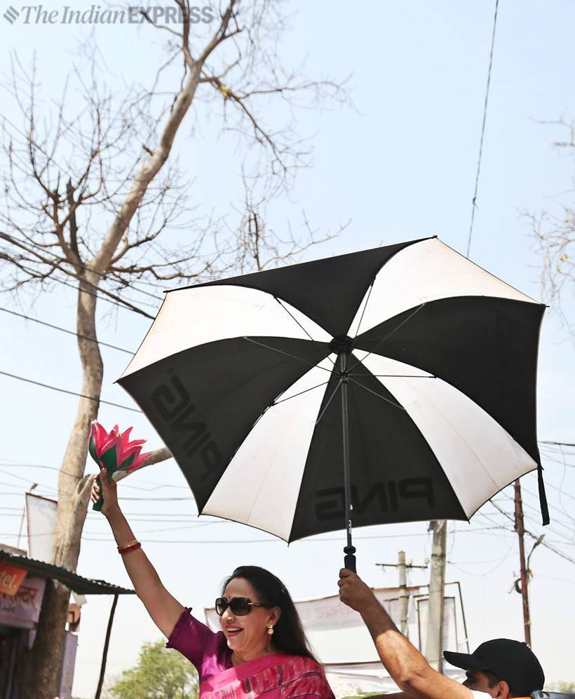 hema malini, mathura mp, lok sabha elections 20919, election campaign, hema malini election campaign, omar abdullah, twitter, hema malini photos, election news, indian express