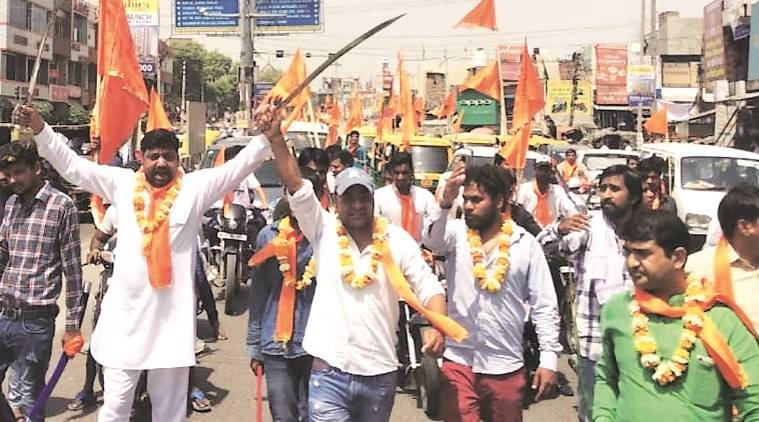 shutting of meat shops, gurgaon meat shops, hindu sena shuts meat shops, gurgaon hindu sena, meat shops shut in gurgaon, men held, hindu sena men held, held for shutting meat shops, attack on meat shops, attack on gurgaon meat shops, gurgaon news, indian express