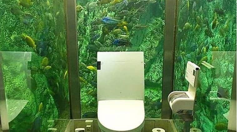 Japan's Coolest Cafe Bathroom, aquarium in washroom