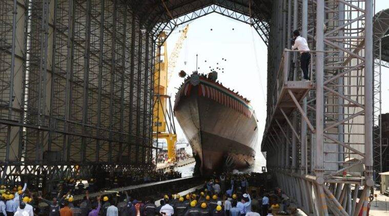 Imphal, Indian Navy's advanced guided missile destroyer, launched in Mumbai