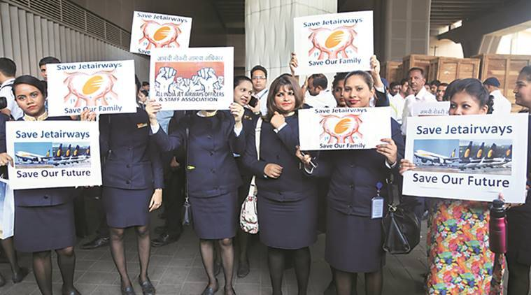 Cash-strapped Jet Airways staff stage protest at Mumbai airport, seek unpaid salaries