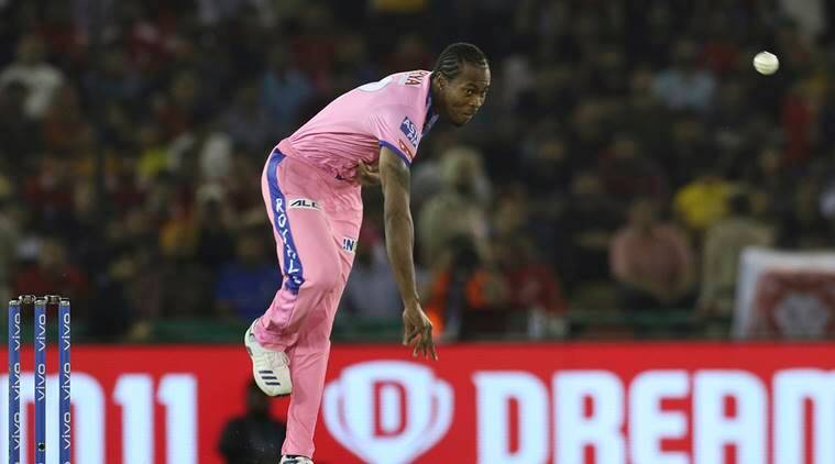 Jofra Archer bowls during the VIVO IPL T20 cricket match between Kings XI Punjab and Rajasthan Royals in Mohali