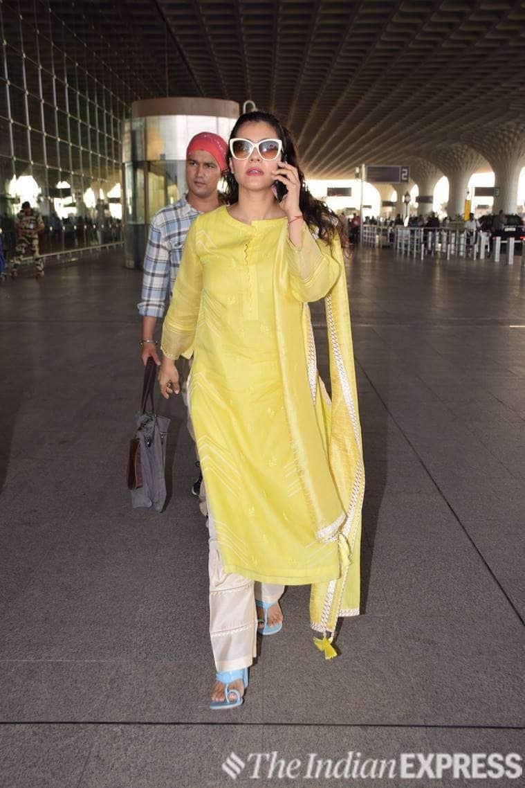 kajol, airport, celeb fashion, indian express, Bollywood, actor