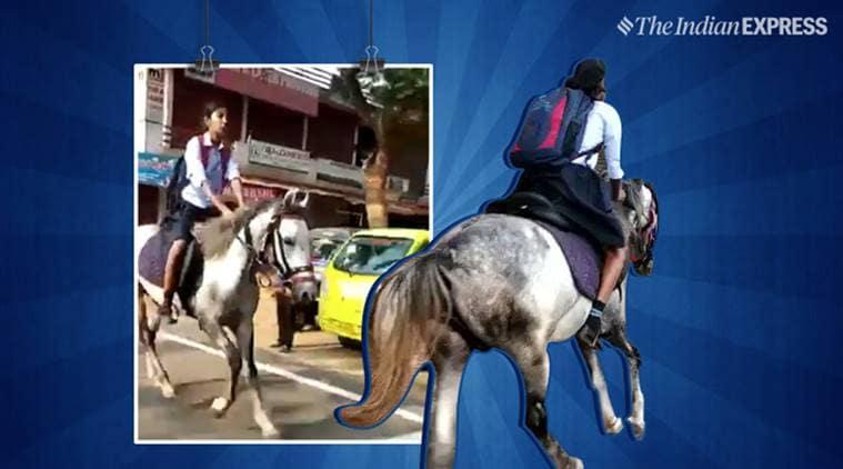 kerala, kerala teenager riding horse, kerala teenager riding house exam, anand mahindra, horse riding viral video, kerala viral tweet, south india, indian express, indian express news