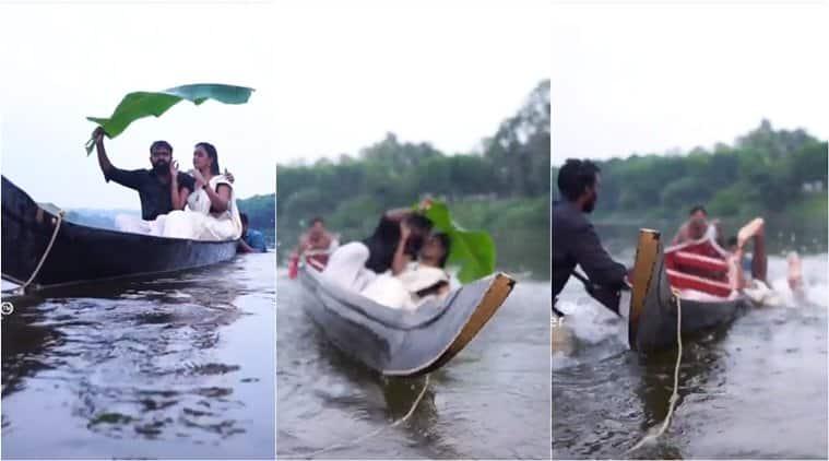 prewedding shoot, kerala wedding photo, kerala couple canoe fall, funny wedding photoshoot, wedding photoshoot fail, viral videos, indian express, kerala news