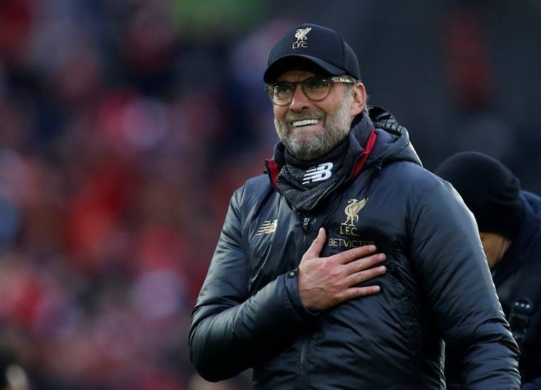Liverpool manager Juergen Klopp celebrates after the match against Spurs