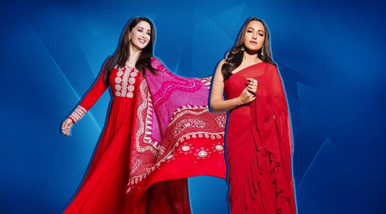 Kalank promotions: Sonakshi Sinha and Madhuri Dixit dazzle in red