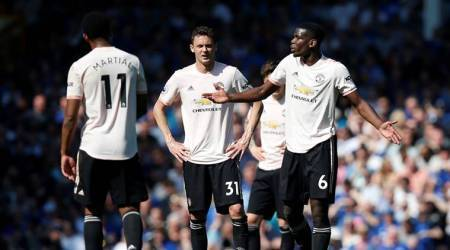 Manchester United's Paul Pogba looks dejected during the game vs Everton