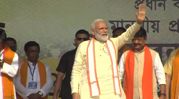 Narendra Modi, PM Modi, Modi BJP, BJP Modi, Bengal elections, Modi in Bengal, Modi election rally in Bengal, BJP rally in Bengal, Modi trips, Modi visits abroad, Modi foreign trips, Modi in foreign, TMC govt, Mamata Banerjee, Election commission, Lok Sabha elections 2019, Decision 2019, Election news, Indian express