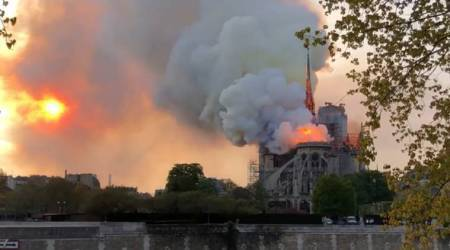 Paris' Notre Dame Cathedral ablaze, part of spire collapses