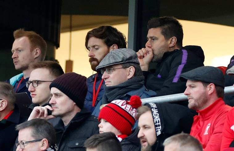 Tottenham manager Mauricio Pochettino in the stands against Liverpool