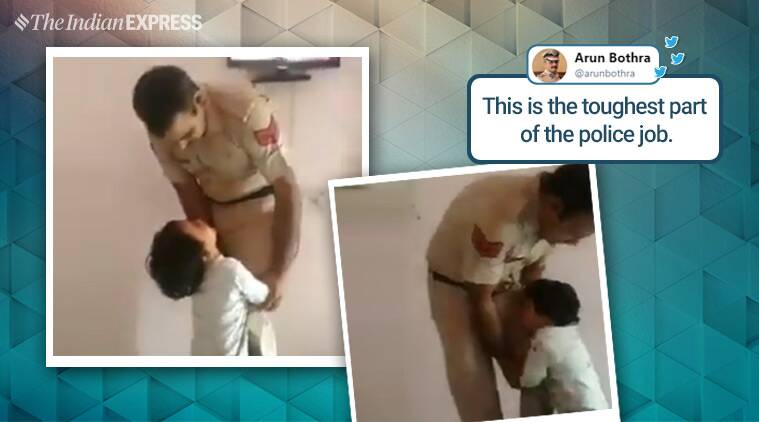 police, police man, delhi police, father son police video, crying child, police officer, police working hours, fathers, father children bond, police son crying viral video, indian express, indian express news