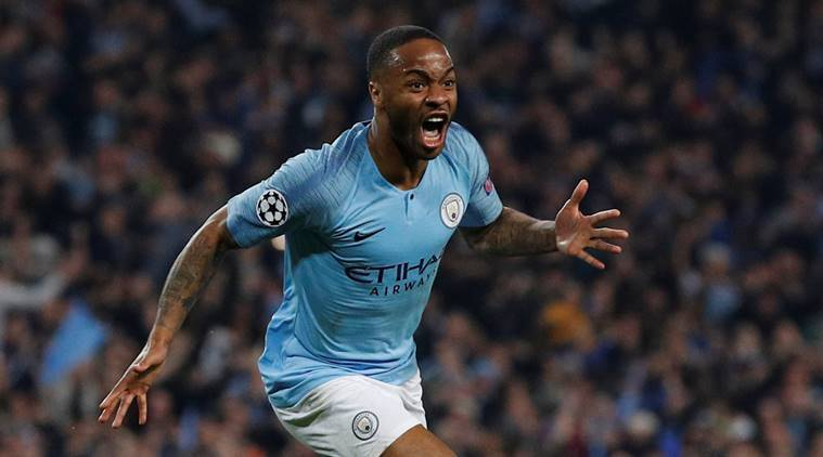 Manchester City's Raheem Sterling celebrates a goal that is later disallowed against Tottenham