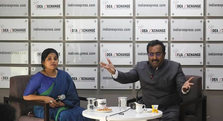 Ram madhav at the Indian Exxpress Ideas Exchange