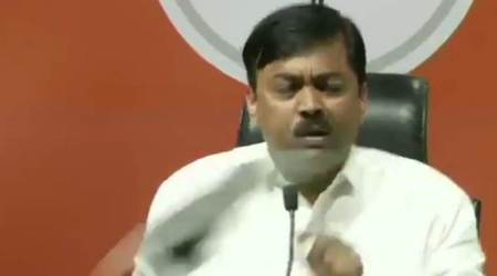 GVL Narasimha Rao, Shakti Bhargava, BJP leader shoe video, Shoe thrown BJP leader, shoe thrown at GVL Narasimha Rao, man throws shoe at GVL Narasimha Rao, shoe hurled at GVL Narasimha Rao, man throws shoe at BJP MP, BJP news