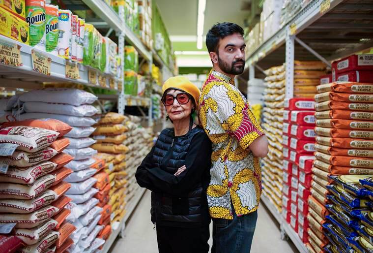 Zohran Kwame Mamdani, known as Mr. Cardamom, with the actress and cookbook author Madhur Jaffrey