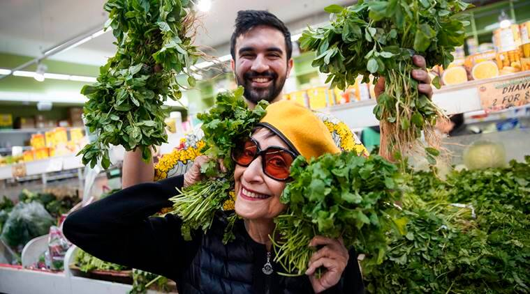 Rapper Zohran Kwame Mamdani, known as Mr. Cardamom, with the actress and cookbook author Madhur Jaffrey