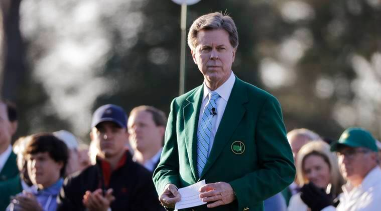 Augusta National Golf Club Chairman Fred Ridley watches the honorary first tee shots before the first round at the Masters golf tournament in Augusta, Ga.