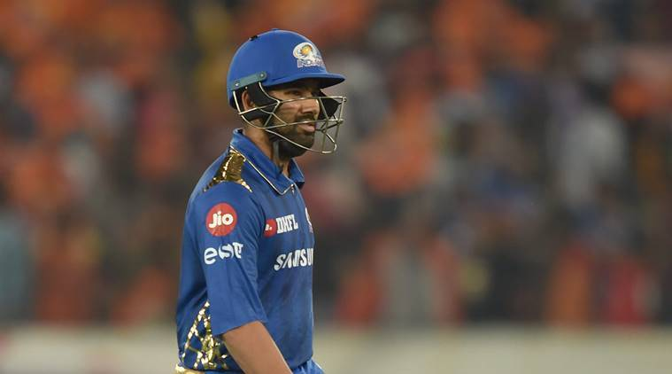 Mumbai Indians (MI) batsman Rohit Sharma returns after dismissed during the Indian Premier League2019(IPL T20) cricket match between Sunrisers Hyderabad (SRH)and Mumbai Indians (MI) at Rajiv Gandhi International Cricket Stadium in Hyderabad