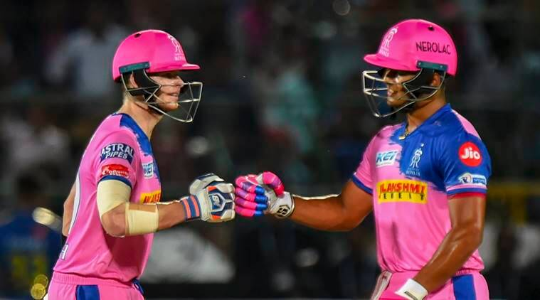 RR Captain Steve Smith and teammate Riyan Parag during the Indian Premier League 2019 (IPL T20) cricket match between Rajasthan Royals (RR) and Mumbai Indians (MI) at Sawai Mansingh Stadium