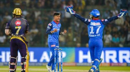 DC bowler Sandeep Lamichhane (C) celebrates after taking wicket of KKR batsman Nikhil Naik (LBW) during the Indian Premier League 2019 (IPL T20) cricket match between Delhi Capital (DC) and Kolkata Knight Riders (KKR) at Feroz Shah Kotla Stadium