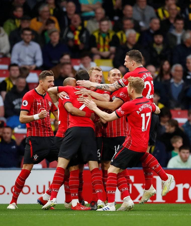 Southampton's Shane Long celebrates scoring their first goal with team mates