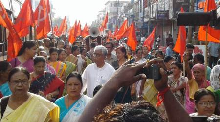 elections, cpim, left front, tripura left parties, tripura left front , lok sabha elections, poll violence, left parties allege poll violence, bjp, bjp-tft government, indian express